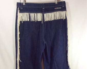 70s Western Dark Wash Denim Jeans with Ivory Silk Fringe size 32 Waist