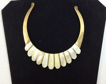 Vintage Brass and Graduated Abalone Shell Inlay Choker
