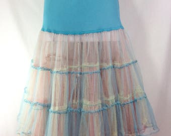 1950s Womens Rainbow Blue Petticoat Slip with Pink and Yellow Mesh Layers size S