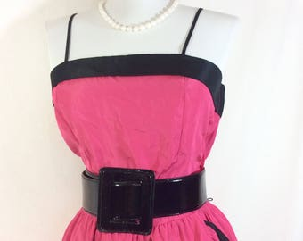 1970s UNION MADE Hot Pink Party Dress with Ruffled Cascading Skirt and Black Trim size S