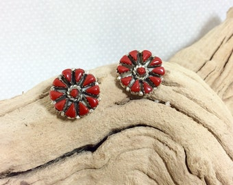 1970s Sterling Silver and Coral Sunburst Medallion Clip-On Earrings
