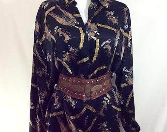 1980s Silk Rhinestone Embellished Western Horse Print Blouse size S-XXL