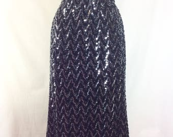 1960s Black Sequin Knit Tube Skirt with Elastic Waist size L/XL