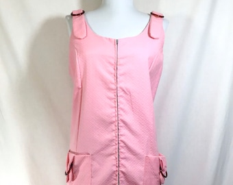 1960s Pink Mod Zip Romper with Tortoise Lucite Rings and Pockets size L/XL