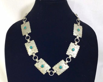 1960s Genuine Turquoise and Concho Rectangle Link Necklace