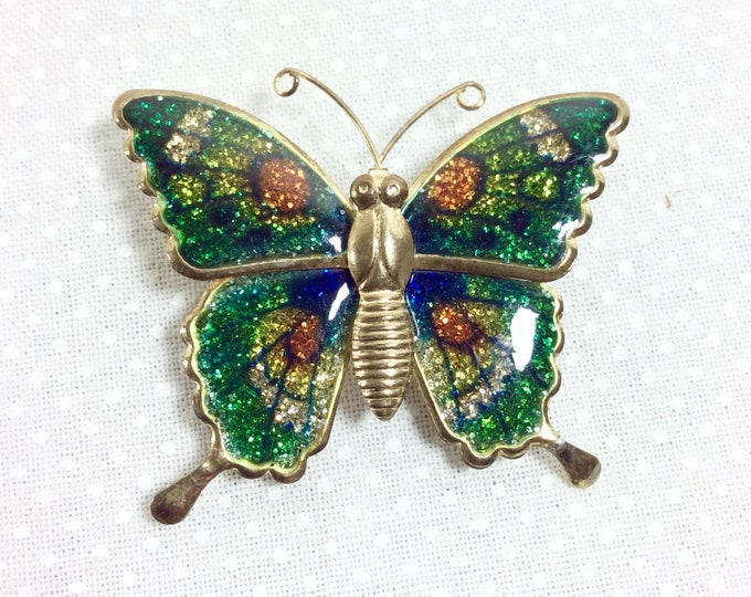 Featured listing image: 1960s Glittery Green Goddess Enamel Butterfly Brooch