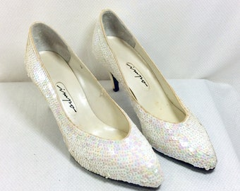 1980s Pearly Sequin Satin Pumps with 3 Inch Heel size 7