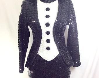 1970s Sequin Tuxedo Black/White Stretch 2pc Dance Costume Size S