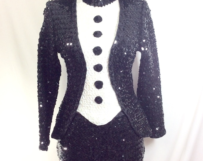 Featured listing image: 1970s Sequin Tuxedo Black/White Stretch 2pc Dance Costume Size S