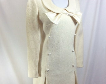 1960s Wool Ivory Minidress with Peter Pan Collar and Satin Bow size S