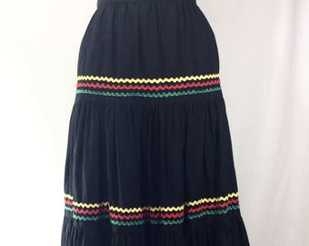 1960s Black Boho Maxi Skirt with Red/Green/Yellow Scalloped Trim size S/M