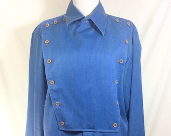 1970s Mens Bibbed Button-Up Long Sleeved Western Shirt size M