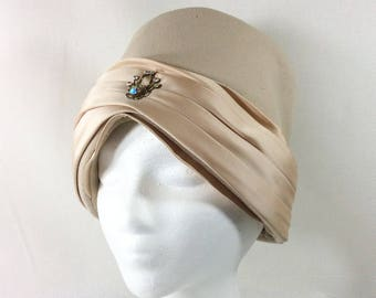 Womens Vintage Union Made Tan Felt Cloche with Champagne Satin Ribbon and Multi Colored Jewel