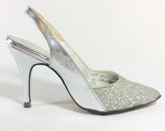 1970s Disco Sparkle Silver Slingback Stiletto Pumps Size 5