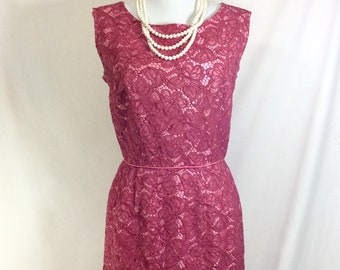 1950s Rose Lace Magenta Sleeveless Cocktail Dress size S/M