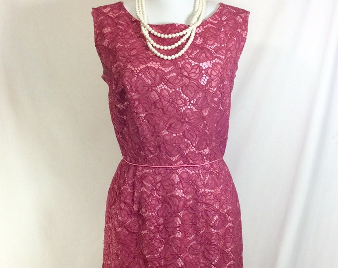 Featured listing image: 1950s Rose Lace Magenta Sleeveless Cocktail Dress size S/M