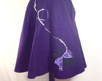 Vintage Purple Felt Poodle Skirt Costume with Black Terrier and Silver Sequin Leash size XS-M