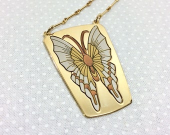 1970s Gold Butterfly Stained Glass Look Pendant Necklace on Long Chain