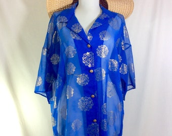 1980s Sheer Royal Blue UNION MADE Short Sleeved Button-Up Swim Cover-Up with Gold Mandala Print size M/L