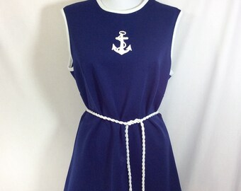 1960s Mod Navy Sailor Tunic Mini Dress with Anchor Appliqué and Coil Rope Belt size L