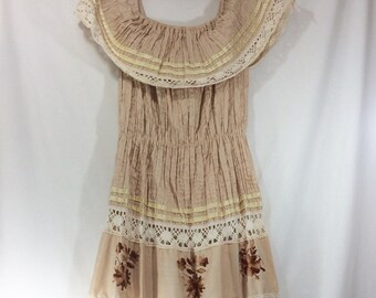 Womens Tan Embroidered Cotton Mexican Off the Shoulder Boho Summer Dress with Lace Trim size L-XXL
