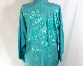 1960s Teal Silk Embroidered Belted Knee-Length Kimono Robe size S/M