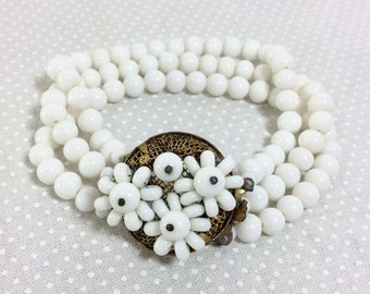 1940s Milk Glass Beaded Multi Strand Flower Cluster Bracelet