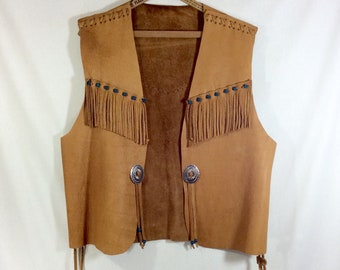1970s Leather Fringed Vest with Turquoise Clay Beads and Concho Buckles size L