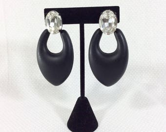 1960s Black Spade Clip-On Statement Earrings with Large Rhinestone Jewels