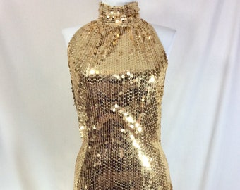 1980s Gold Sequined Party Dress with Open Back size S