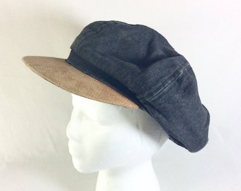 Vintage Unisex Denim and Suede Slouchy Newsboy Hat size M/L