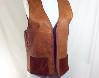1960s Distressed Brown Leather Vest with Suede Pockets size M