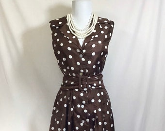 1980s Does 1950s Jessica Howard Chocolate Polka Dot Belted Sleeveless Dress size L/XL