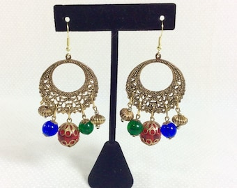 1980s Boho Gold Hoop Earrings with Colorful Dangling Glass Beads and Gold Filigree