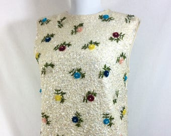 1960s Ivory Sequined Wool Sweater Tank With Colorful Beaded Flowers size M/L