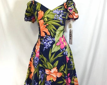 1980s New Old Stock Tropical Print Off-the-Shoulder Fit-and-Flare Party Dress size M