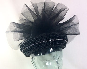 1980s High Fashion Black Beaded Straw Hat with Rhinestones and Giant Mesh Bow