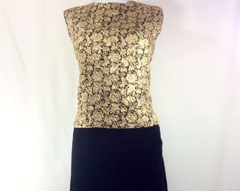 Womens 1960s Gold Brocade 2pc Dress with Black Velvet Pencil Skirt size 10