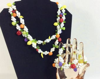 1960s Fruit Salad White Beaded Necklace and Wrap Bracelet Set