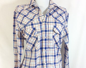 1980s Plaid Pearl Snap Long Sleeve Western Shirt size (Mens S/ Womens M)