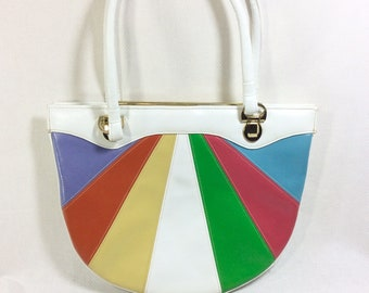 1980s Rainbow Quilted Genuine Leather Shoulder Strap Handbag