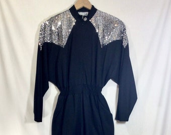 1980s Silver Sequin and Black Jumpsuit with POCKETS and Elastic Waist size S/M