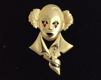 1970s Gold Circus Clown Signed Brooch with Red Enamel Makeup