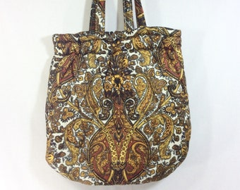 1970s Quilted Paisley Clamshell Knitting Tote Bag