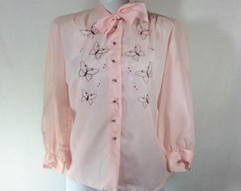 Womens Vintage Sheer Pink Butterfly Embroidered Blouse with Rhinestone Buttons size S/M