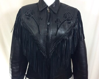 1980s Rose Cutout Black Leather Fringed Zip Moto Jacket size S