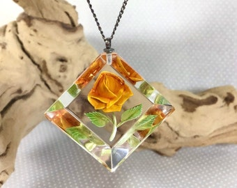 1960s Yellow Rose Intaglio Lucite Pendant Necklace on 17'' Chain