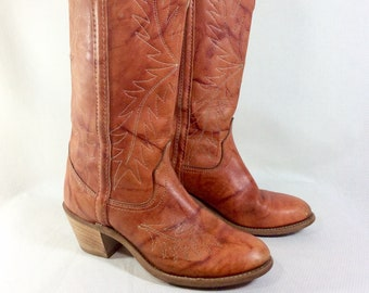 1970s Tall Auburn Leather Wrangler Western Cowboy Boots size 6.5/7