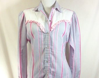 1980s Ruffled Pearl Snap Striped Western Shirt with Sweetheart Yoke size M/L