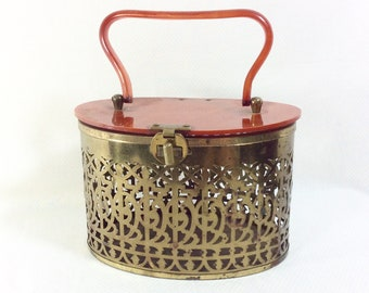 1950s Brass Filigree Box Purse with Lucite Handle and Turnkey Clasp